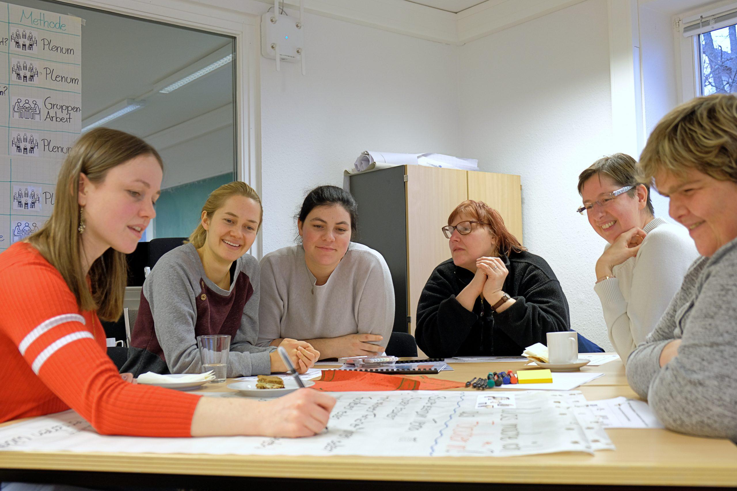 Personen sitzen bei InFoh Treffen an einem Tisch und bearbeiten ein Plakat