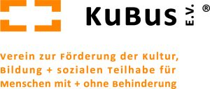"""KuBus Logo mit Textzusatz """"Verein zur Förderung der Kultur, Bildung und sozialen Teilhabe für Menschen mit und ohne Behinderung"""""""